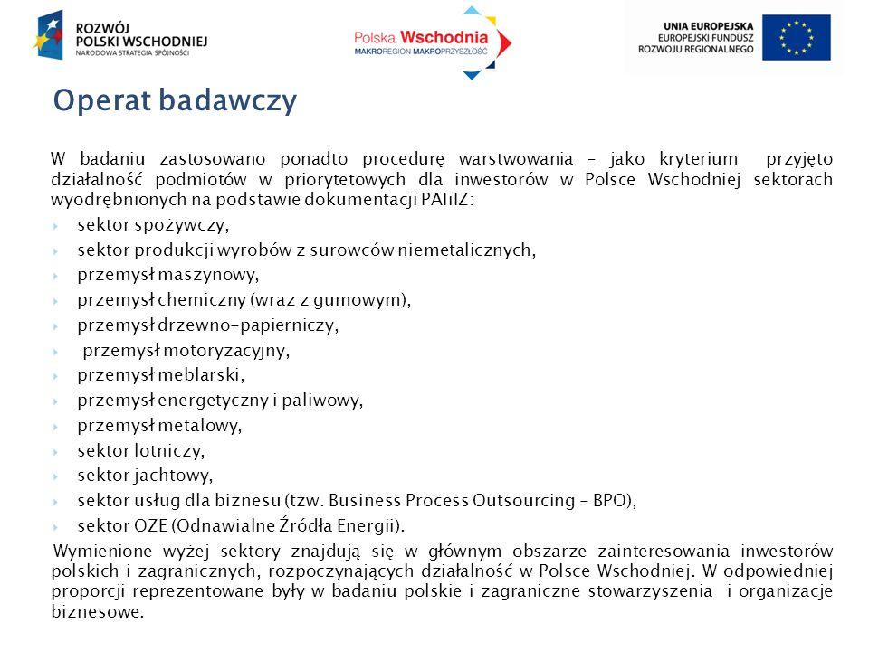 Operat badawczy W badaniu zastosowano ponadto procedurę warstwowania – jako kryterium przyjęto działalność podmiotów w priorytetowych dla inwestorów w Polsce Wschodniej sektorach wyodrębnionych na podstawie dokumentacji PAIiIZ:  sektor spożywczy,  sektor produkcji wyrobów z surowców niemetalicznych,  przemysł maszynowy,  przemysł chemiczny (wraz z gumowym),  przemysł drzewno-papierniczy,  przemysł motoryzacyjny,  przemysł meblarski,  przemysł energetyczny i paliwowy,  przemysł metalowy,  sektor lotniczy,  sektor jachtowy,  sektor usług dla biznesu (tzw.