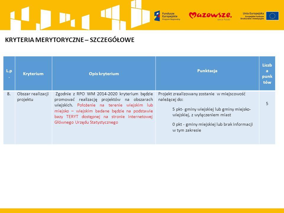 L.p. KryteriumOpis kryterium Punktacja Liczb a punk tów 8.Obszar realizacji projektu Zgodnie z RPO WM 2014-2020 kryterium będzie promować realizację p