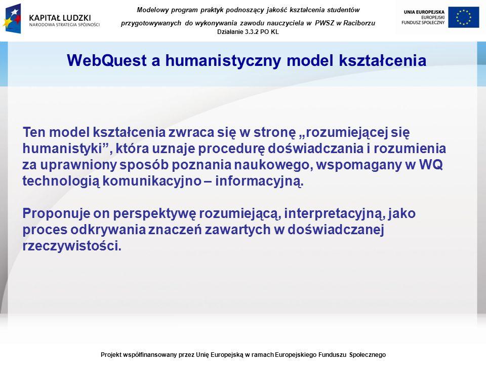 """Modelowy program praktyk podnoszący jakość kształcenia studentów przygotowywanych do wykonywania zawodu nauczyciela w PWSZ w Raciborzu Działanie 3.3.2 PO KL Projekt współfinansowany przez Unię Europejską w ramach Europejskiego Funduszu Społecznego WebQuest a humanistyczny model kształcenia Ten model kształcenia zwraca się w stronę """"rozumiejącej się humanistyki , która uznaje procedurę doświadczania i rozumienia za uprawniony sposób poznania naukowego, wspomagany w WQ technologią komunikacyjno – informacyjną."""
