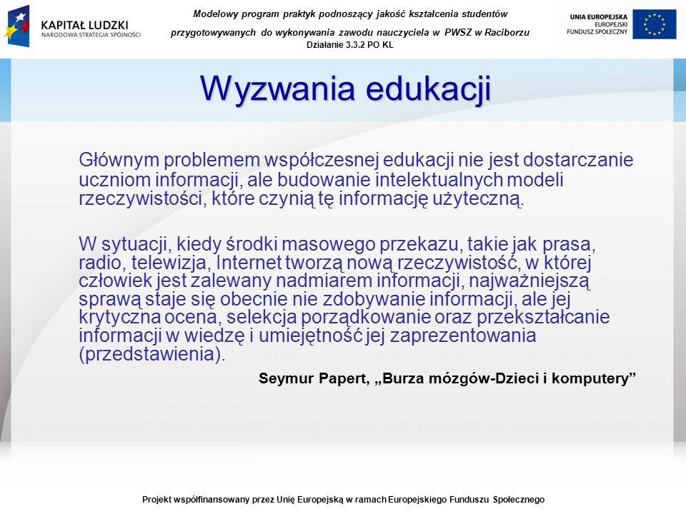 Modelowy program praktyk podnoszący jakość kształcenia studentów przygotowywanych do wykonywania zawodu nauczyciela w PWSZ w Raciborzu Działanie 3.3.2 PO KL Projekt współfinansowany przez Unię Europejską w ramach Europejskiego Funduszu Społecznego Geografia, Język angielski Nauczanie przedmiotowe Biologia, Geografia Język polski