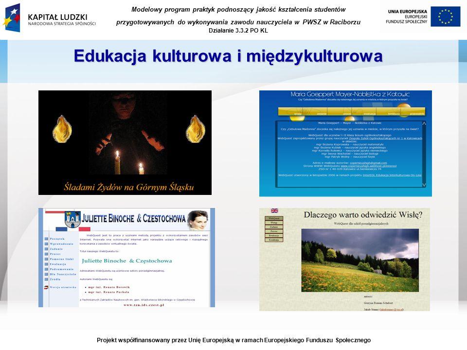 Modelowy program praktyk podnoszący jakość kształcenia studentów przygotowywanych do wykonywania zawodu nauczyciela w PWSZ w Raciborzu Działanie 3.3.2 PO KL Projekt współfinansowany przez Unię Europejską w ramach Europejskiego Funduszu Społecznego Edukacja kulturowa i międzykulturowa
