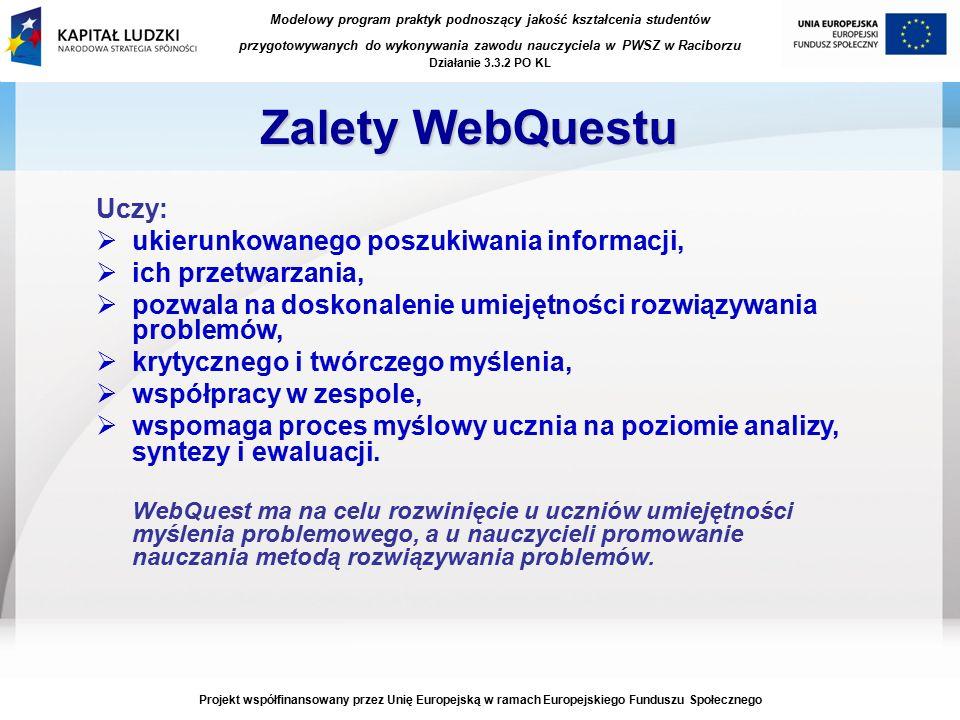 Modelowy program praktyk podnoszący jakość kształcenia studentów przygotowywanych do wykonywania zawodu nauczyciela w PWSZ w Raciborzu Działanie 3.3.2 PO KL Projekt współfinansowany przez Unię Europejską w ramach Europejskiego Funduszu Społecznego Zalety WebQuestu Uczy:  ukierunkowanego poszukiwania informacji,  ich przetwarzania,  pozwala na doskonalenie umiejętności rozwiązywania problemów,  krytycznego i twórczego myślenia,  współpracy w zespole,  wspomaga proces myślowy ucznia na poziomie analizy, syntezy i ewaluacji.