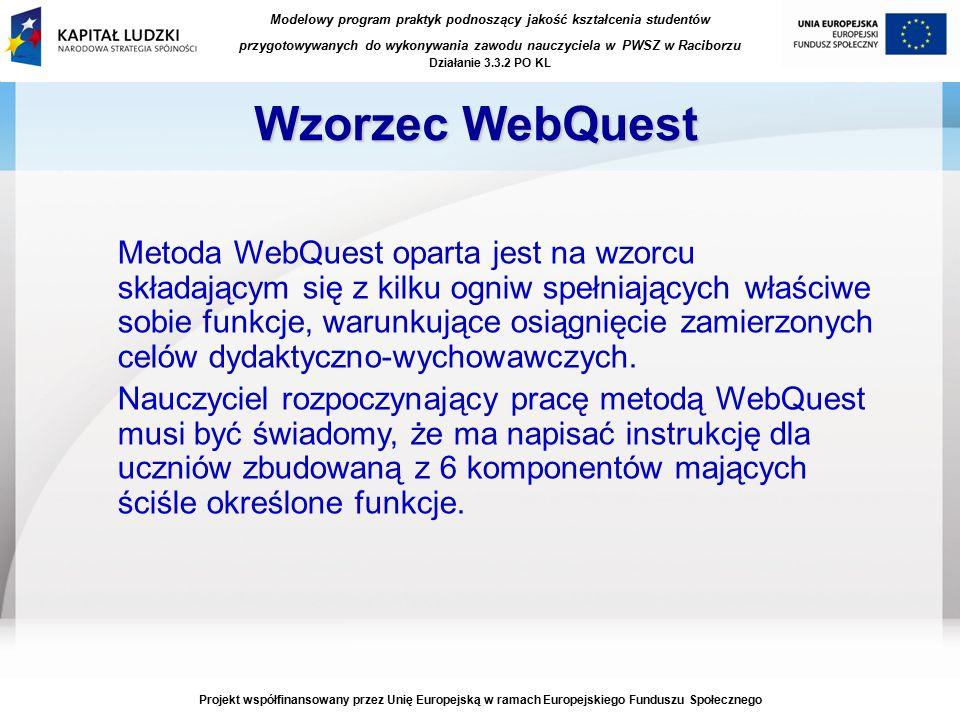 Modelowy program praktyk podnoszący jakość kształcenia studentów przygotowywanych do wykonywania zawodu nauczyciela w PWSZ w Raciborzu Działanie 3.3.2 PO KL Projekt współfinansowany przez Unię Europejską w ramach Europejskiego Funduszu Społecznego Wzorzec WebQuest Metoda WebQuest oparta jest na wzorcu składającym się z kilku ogniw spełniających właściwe sobie funkcje, warunkujące osiągnięcie zamierzonych celów dydaktyczno-wychowawczych.