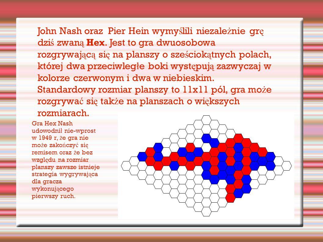 John Nash oraz Pier Hein wymy ś lili niezale ż nie gr ę dzi ś zwan ą Hex.