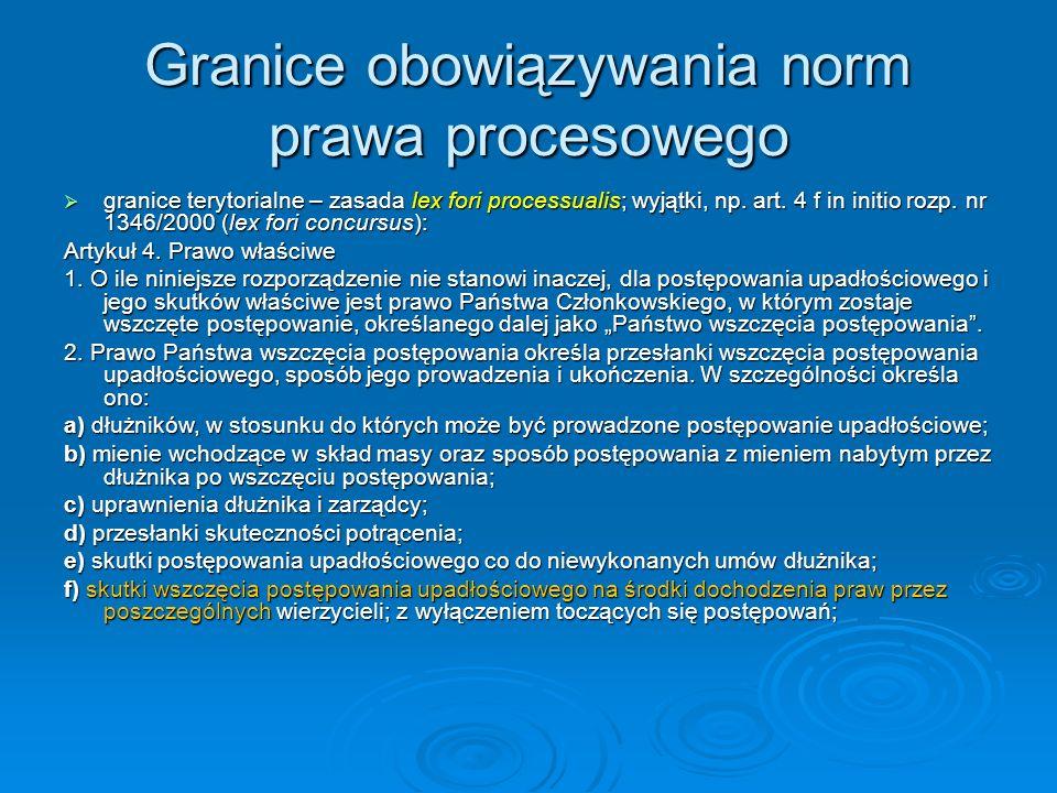 Granice obowiązywania norm prawa procesowego  granice terytorialne – zasada lex fori processualis; wyjątki, np.
