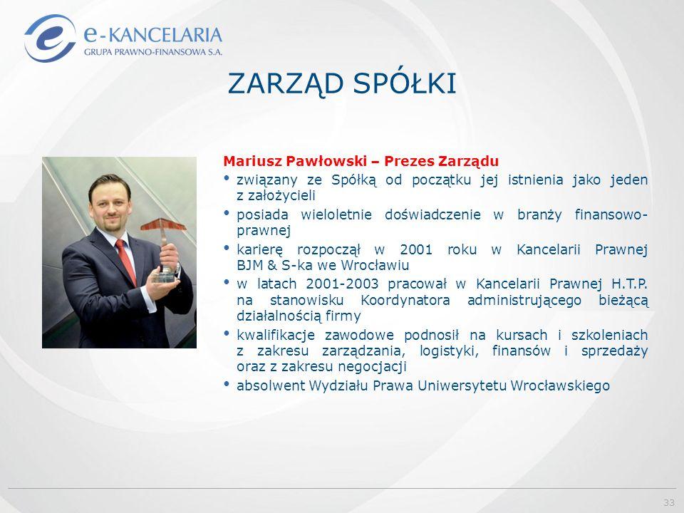 Mariusz Pawłowski – Prezes Zarządu związany ze Spółką od początku jej istnienia jako jeden z założycieli posiada wieloletnie doświadczenie w branży finansowo- prawnej karierę rozpoczął w 2001 roku w Kancelarii Prawnej BJM & S-ka we Wrocławiu w latach 2001-2003 pracował w Kancelarii Prawnej H.T.P.