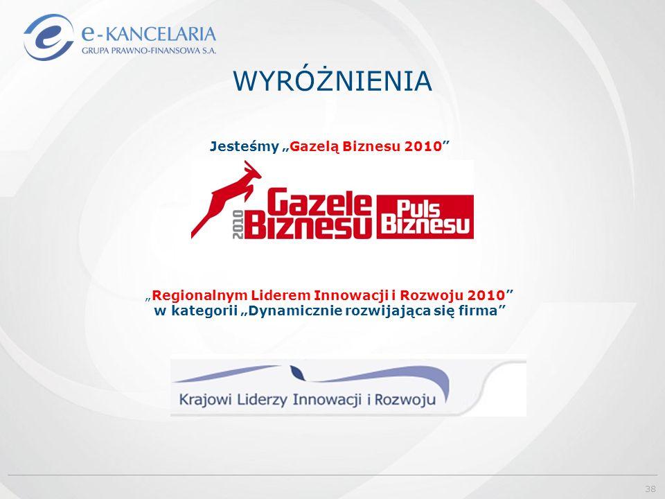 """WYRÓŻNIENIA Jesteśmy """"Gazelą Biznesu 2010 """"Regionalnym Liderem Innowacji i Rozwoju 2010 w kategorii """"Dynamicznie rozwijająca się firma 38"""