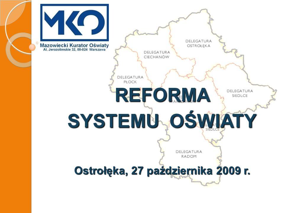 REFORMA SYSTEMU OŚWIATY Ostrołęka, 27 października 2009 r.