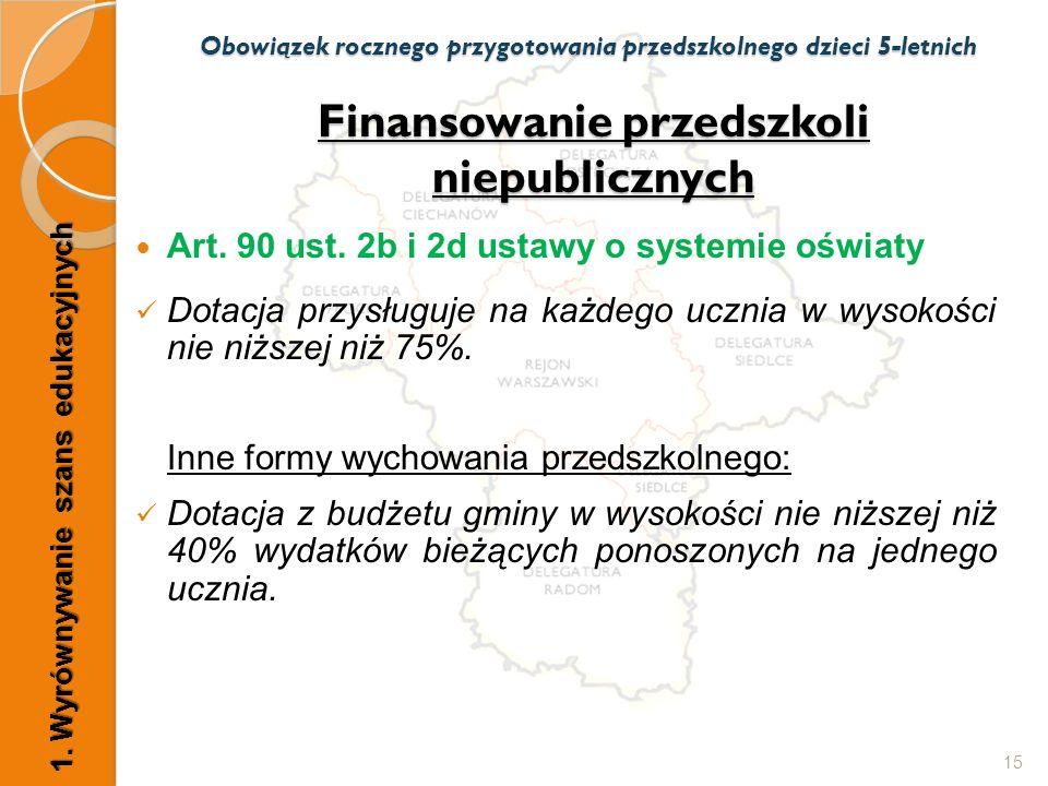 Finansowanie przedszkoli niepublicznych Art. 90 ust. 2b i 2d ustawy o systemie oświaty Dotacja przysługuje na każdego ucznia w wysokości nie niższej n