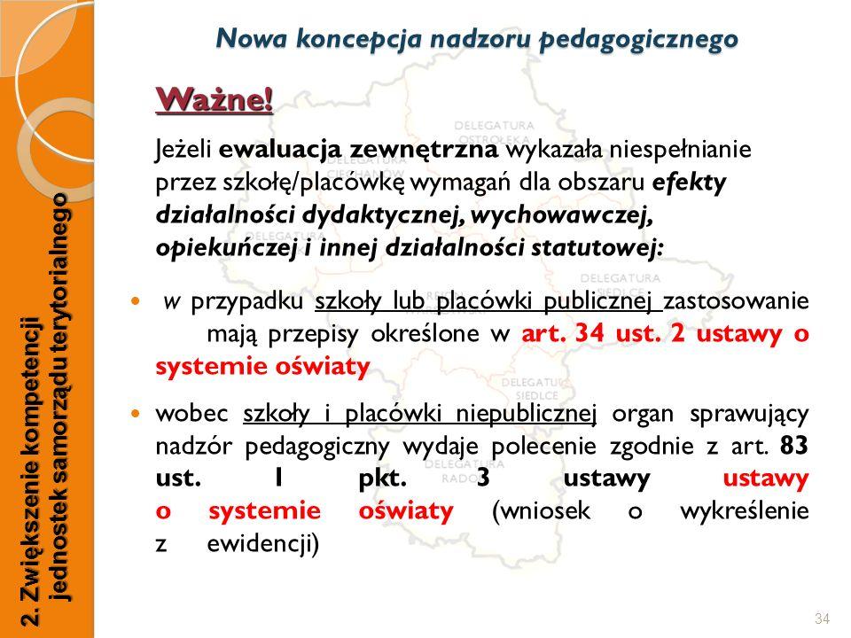 34 Nowa koncepcja nadzoru pedagogicznego 2. Zwiększenie kompetencji jednostek samorządu terytorialnego Ważne! Jeżeli ewaluacja zewnętrzna wykazała nie