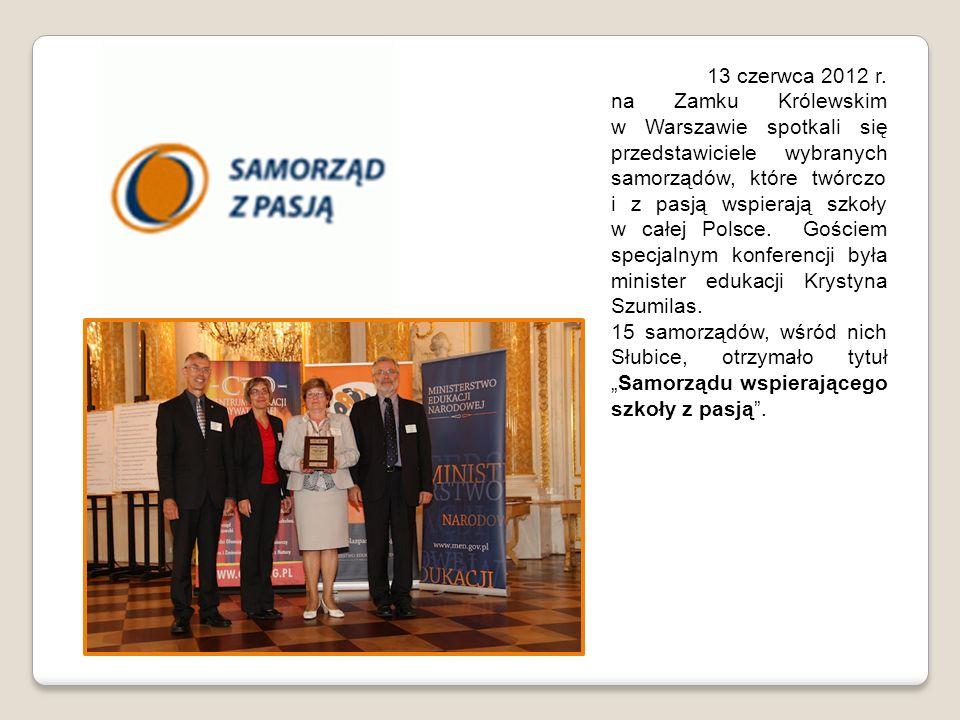 13 czerwca 2012 r. na Zamku Królewskim w Warszawie spotkali się przedstawiciele wybranych samorządów, które twórczo i z pasją wspierają szkoły w całej