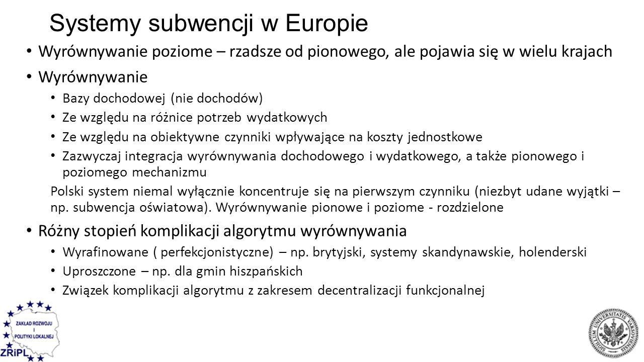 Systemy subwencji w Europie Wyrównywanie poziome – rzadsze od pionowego, ale pojawia się w wielu krajach Wyrównywanie Bazy dochodowej (nie dochodów) Z
