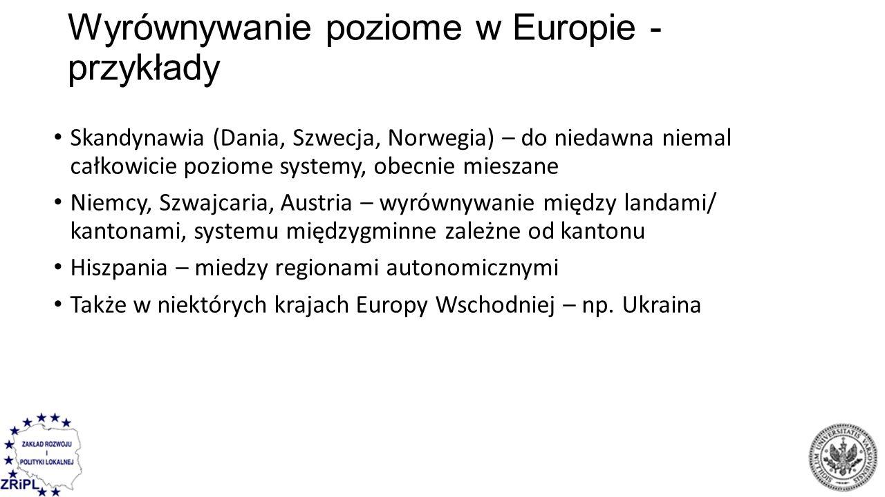 Wyrównywanie poziome w Europie - przykłady Skandynawia (Dania, Szwecja, Norwegia) – do niedawna niemal całkowicie poziome systemy, obecnie mieszane Niemcy, Szwajcaria, Austria – wyrównywanie między landami/ kantonami, systemu międzygminne zależne od kantonu Hiszpania – miedzy regionami autonomicznymi Także w niektórych krajach Europy Wschodniej – np.