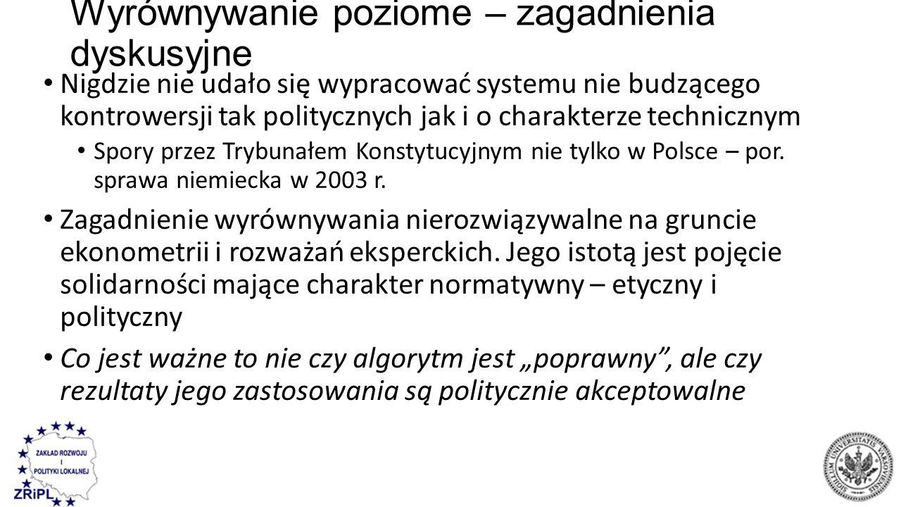 Wyrównywanie poziome – zagadnienia dyskusyjne Nigdzie nie udało się wypracować systemu nie budzącego kontrowersji tak politycznych jak i o charakterze technicznym Spory przez Trybunałem Konstytucyjnym nie tylko w Polsce – por.