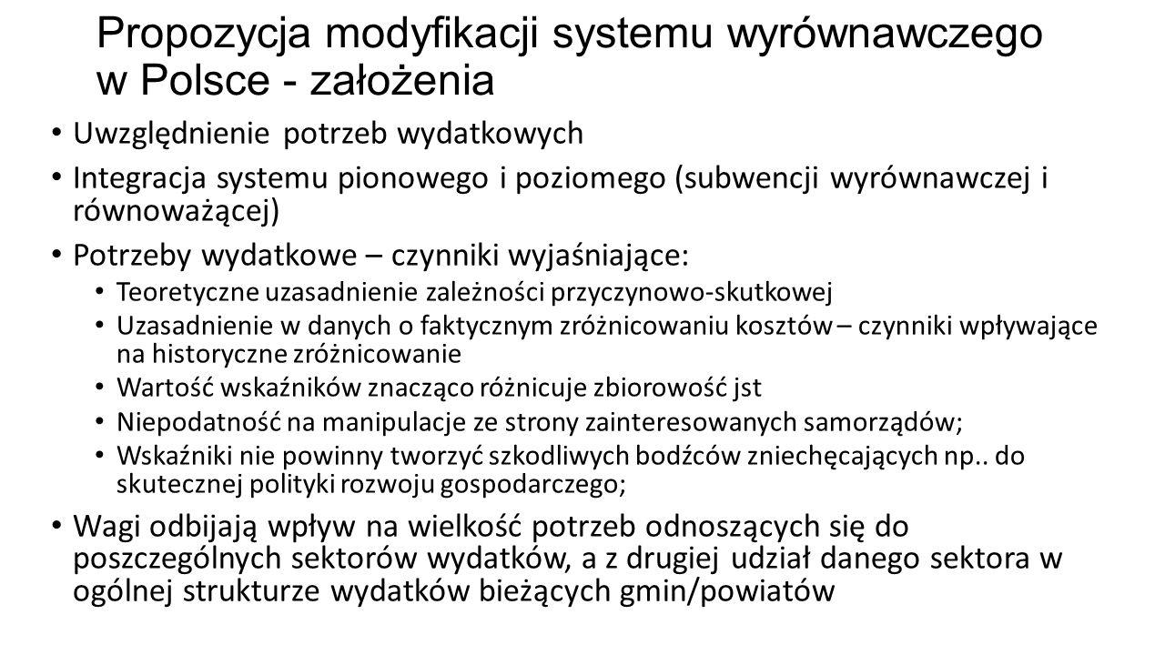 Propozycja modyfikacji systemu wyrównawczego w Polsce - założenia Uwzględnienie potrzeb wydatkowych Integracja systemu pionowego i poziomego (subwencj