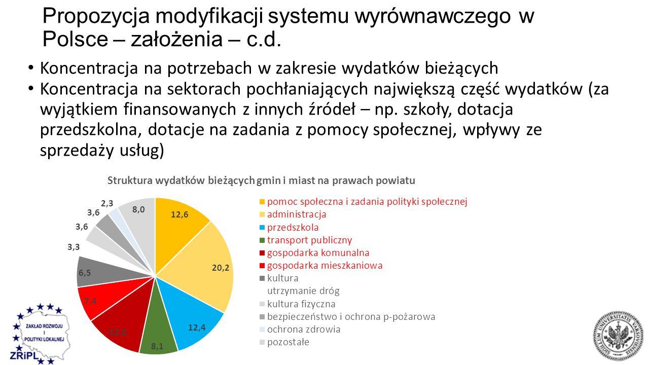 Propozycja modyfikacji systemu wyrównawczego w Polsce – założenia – c.d. Koncentracja na potrzebach w zakresie wydatków bieżących Koncentracja na sekt