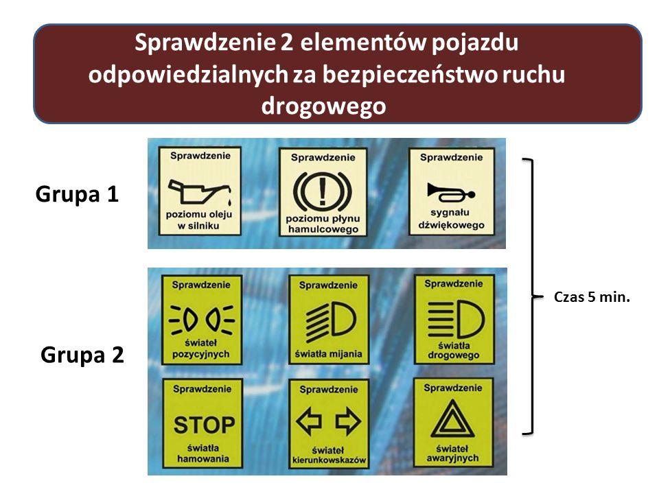 Sprawdzenie 2 elementów pojazdu odpowiedzialnych za bezpieczeństwo ruchu drogowego Grupa 1 Grupa 2 Czas 5 min.