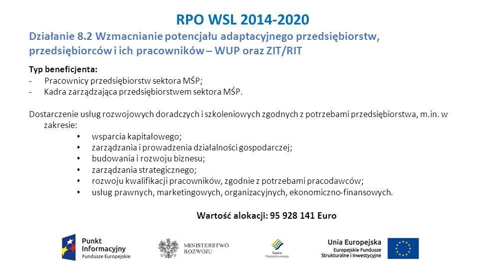 RPO WSL 2014-2020 Działanie 8.2 Wzmacnianie potencjału adaptacyjnego przedsiębiorstw, przedsiębiorców i ich pracowników – WUP oraz ZIT/RIT Typ beneficjenta: - Pracownicy przedsiębiorstw sektora MŚP; - Kadra zarządzająca przedsiębiorstwem sektora MŚP.