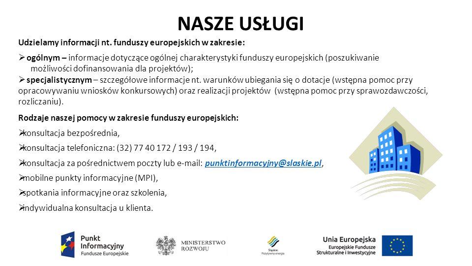 Rodzaje naszej pomocy w zakresie funduszy europejskich:  konsultacja bezpośrednia,  konsultacja telefoniczna: (32) 77 40 172 / 193 / 194,  konsultacja za pośrednictwem poczty lub e-mail: punktinformacyjny@slaskie.pl,punktinformacyjny@slaskie.pl  mobilne punkty informacyjne (MPI),  spotkania informacyjne oraz szkolenia,  indywidualna konsultacja u klienta.