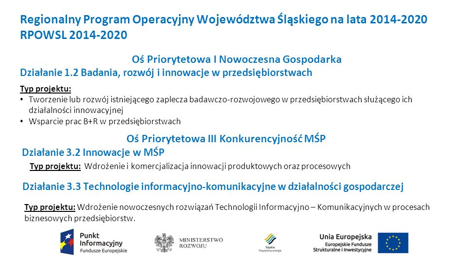 Regionalny Program Operacyjny Województwa Śląskiego na lata 2014-2020 RPOWSL 2014-2020 Oś Priorytetowa I Nowoczesna Gospodarka Działanie 1.2 Badania, rozwój i innowacje w przedsiębiorstwach Typ projektu: Tworzenie lub rozwój istniejącego zaplecza badawczo-rozwojowego w przedsiębiorstwach służącego ich działalności innowacyjnej Wsparcie prac B+R w przedsiębiorstwach Oś Priorytetowa III Konkurencyjność MŚP Działanie 3.2 Innowacje w MŚP Typ projektu: Wdrożenie i komercjalizacja innowacji produktowych oraz procesowych Działanie 3.3 Technologie informacyjno-komunikacyjne w działalności gospodarczej Typ projektu: Wdrożenie nowoczesnych rozwiązań Technologii Informacyjno – Komunikacyjnych w procesach biznesowych przedsiębiorstw.