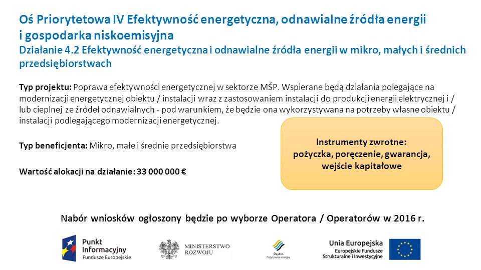 Oś Priorytetowa IV Efektywność energetyczna, odnawialne źródła energii i gospodarka niskoemisyjna Działanie 4.2 Efektywność energetyczna i odnawialne źródła energii w mikro, małych i średnich przedsiębiorstwach Typ projektu: Poprawa efektywności energetycznej w sektorze MŚP.