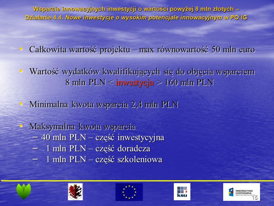 15 Całkowita wartość projektu – max równowartość 50 mln euro Całkowita wartość projektu – max równowartość 50 mln euro Wartość wydatków kwalifikujących się do objęcia wsparciem Wartość wydatków kwalifikujących się do objęcia wsparciem 8 mln PLN 160 mln PLN Minimalna kwota wsparcia 2,4 mln PLN Minimalna kwota wsparcia 2,4 mln PLN Maksymalna kwota wsparcia Maksymalna kwota wsparcia – 40 mln PLN – część inwestycyjna – 1 mln PLN – część doradcza – 1 mln PLN – część szkoleniowa Wsparcie innowacyjnych inwestycji o wartości powyżej 8 mln złotych – Działanie 4.4.