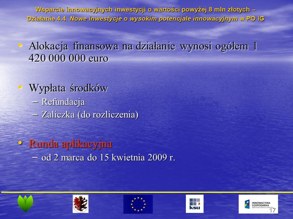 17 Alokacja finansowa na działanie wynosi ogółem 1 420 000 000 euro Alokacja finansowa na działanie wynosi ogółem 1 420 000 000 euro Wypłata środków Wypłata środków – Refundacja – Zaliczka (do rozliczenia) Runda aplikacyjna Runda aplikacyjna – od 2 marca do 15 kwietnia 2009 r.