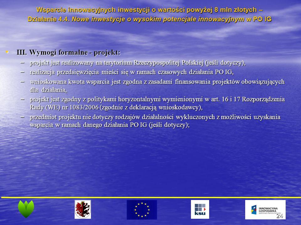 24 III. Wymogi formalne - projekt: III.