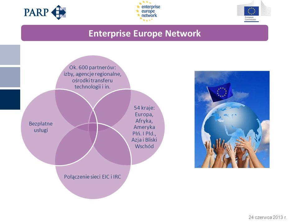24 czerwca 2013 r. Enterprise Europe Network Ok. 600 partnerów: izby, agencje regionalne, ośrodki transferu technologii i in. 54 kraje: Europa, Afryka