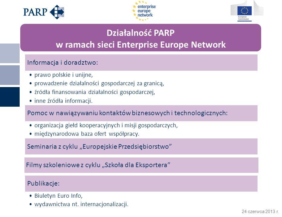 24 czerwca 2013 r. Informacja i doradztwo: prawo polskie i unijne, prowadzenie działalności gospodarczej za granicą, źródła finansowania działalności