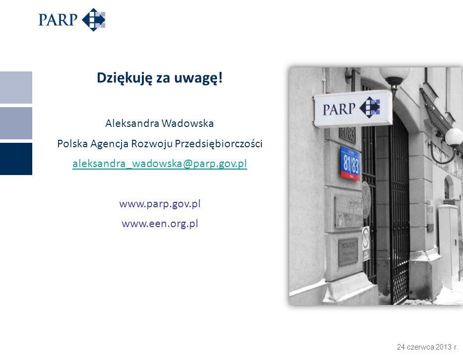 24 czerwca 2013 r. Dziękuję za uwagę! Aleksandra Wadowska Polska Agencja Rozwoju Przedsiębiorczości aleksandra_wadowska@parp.gov.pl www.parp.gov.pl ww