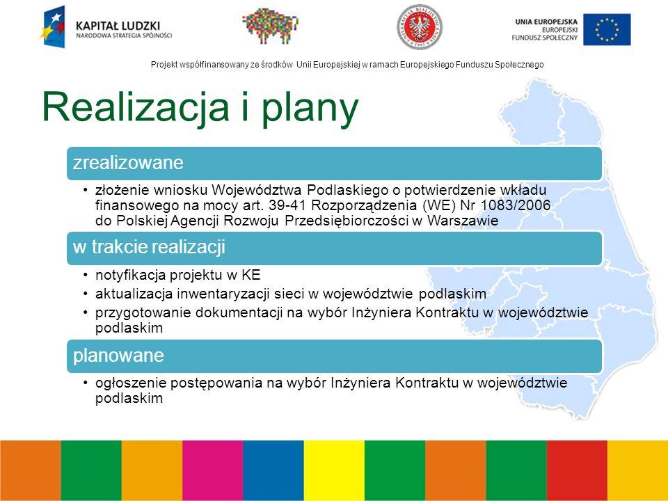Projekt współfinansowany ze środków Unii Europejskiej w ramach Europejskiego Funduszu Społecznego Realizacja i plany zrealizowane złożenie wniosku Województwa Podlaskiego o potwierdzenie wkładu finansowego na mocy art.