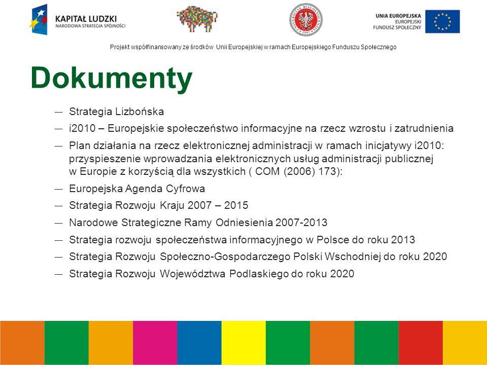 Projekt współfinansowany ze środków Unii Europejskiej w ramach Europejskiego Funduszu Społecznego Dokumenty ― Strategia Lizbońska ― i2010 – Europejskie społeczeństwo informacyjne na rzecz wzrostu i zatrudnienia ― Plan działania na rzecz elektronicznej administracji w ramach inicjatywy i2010: przyspieszenie wprowadzania elektronicznych usług administracji publicznej w Europie z korzyścią dla wszystkich ( COM (2006) 173): ― Europejska Agenda Cyfrowa ― Strategia Rozwoju Kraju 2007 – 2015 ― Narodowe Strategiczne Ramy Odniesienia 2007-2013 ― Strategia rozwoju społeczeństwa informacyjnego w Polsce do roku 2013 ― Strategia Rozwoju Społeczno-Gospodarczego Polski Wschodniej do roku 2020 ― Strategia Rozwoju Województwa Podlaskiego do roku 2020