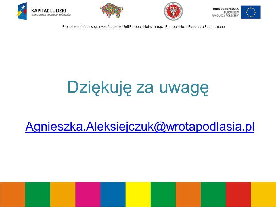 Projekt współfinansowany ze środków Unii Europejskiej w ramach Europejskiego Funduszu Społecznego Dziękuję za uwagę Agnieszka.Aleksiejczuk@wrotapodlasia.pl