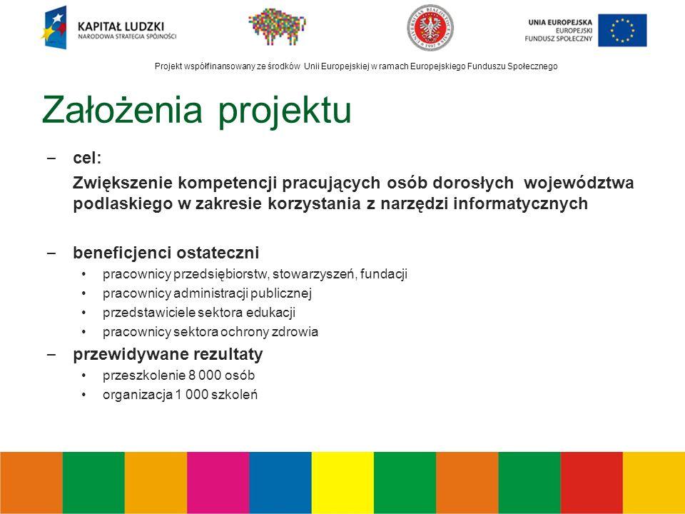 Projekt współfinansowany ze środków Unii Europejskiej w ramach Europejskiego Funduszu Społecznego Założenia projektu – cel: Zwiększenie kompetencji pracujących osób dorosłych województwa podlaskiego w zakresie korzystania z narzędzi informatycznych – beneficjenci ostateczni pracownicy przedsiębiorstw, stowarzyszeń, fundacji pracownicy administracji publicznej przedstawiciele sektora edukacji pracownicy sektora ochrony zdrowia – przewidywane rezultaty przeszkolenie 8 000 osób organizacja 1 000 szkoleń