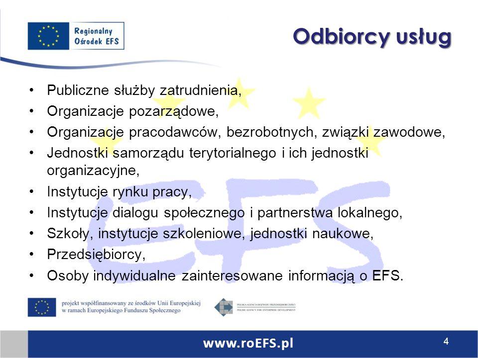 Odbiorcy usług Publiczne służby zatrudnienia, Organizacje pozarządowe, Organizacje pracodawców, bezrobotnych, związki zawodowe, Jednostki samorządu terytorialnego i ich jednostki organizacyjne, Instytucje rynku pracy, Instytucje dialogu społecznego i partnerstwa lokalnego, Szkoły, instytucje szkoleniowe, jednostki naukowe, Przedsiębiorcy, Osoby indywidualne zainteresowane informacją o EFS.
