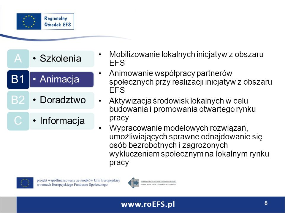 Szkolenia A Animacja B1 Doradztwo B2 Informacja C Mobilizowanie lokalnych inicjatyw z obszaru EFS Animowanie współpracy partnerów społecznych przy realizacji inicjatyw z obszaru EFS Aktywizacja środowisk lokalnych w celu budowania i promowania otwartego rynku pracy Wypracowanie modelowych rozwiązań, umożliwiających sprawne odnajdowanie się osób bezrobotnych i zagrożonych wykluczeniem społecznym na lokalnym rynku pracy www.roEFS.pl 8