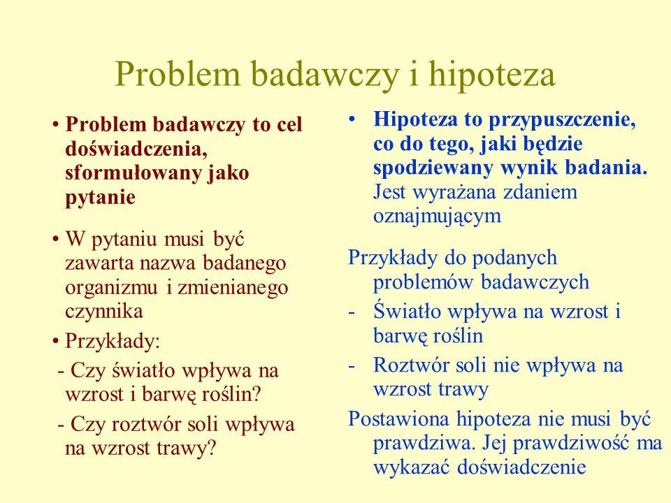 Problem badawczy i hipoteza Problem badawczy to cel doświadczenia, sformułowany jako pytanie W pytaniu musi być zawarta nazwa badanego organizmu i zmi
