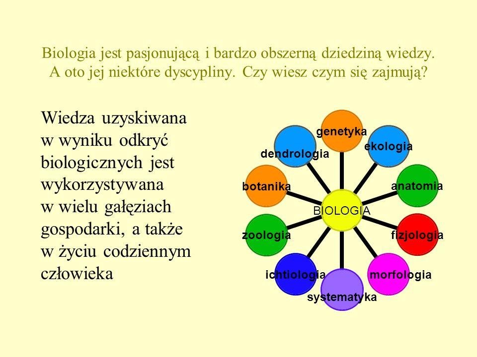 Biologia jest pasjonującą i bardzo obszerną dziedziną wiedzy. A oto jej niektóre dyscypliny. Czy wiesz czym się zajmują? Wiedza uzyskiwana w wyniku od
