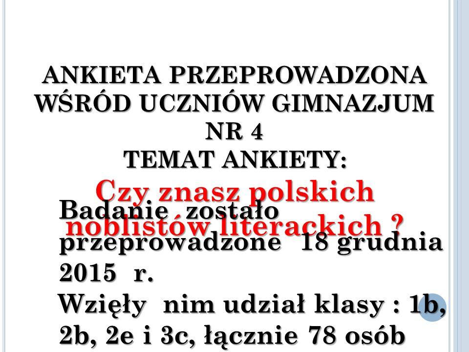 ANKIETA PRZEPROWADZONA WŚRÓD UCZNIÓW GIMNAZJUM NR 4 TEMAT ANKIETY: Czy znasz polskich noblistów literackich .