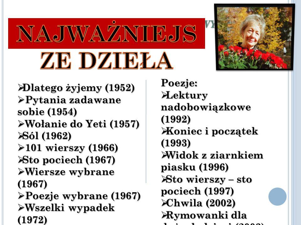 N AJWAŻNIEJSZE DZIEŁA W ISŁAWY S ZYMBORSKIEJ  Dlatego żyjemy (1952)  Pytania zadawane sobie (1954)  Wołanie do Yeti (1957)  Sól (1962)  101 wierszy (1966)  Sto pociech (1967)  Wiersze wybrane (1967)  Poezje wybrane (1967)  Wszelki wypadek (1972)  Wielka liczba (1976)  Ludzie na moście (1986) Poezje:  Lektury nadobowiązkowe (1992)  Koniec i początek (1993)  Widok z ziarnkiem piasku (1996)  Sto wierszy – sto pociech (1997)  Chwila (2002)  Rymowanki dla dużych dzieci (2003)  Dwukropek (2005; Nominacja do Śląskiego Wawrzynu Literackiego)