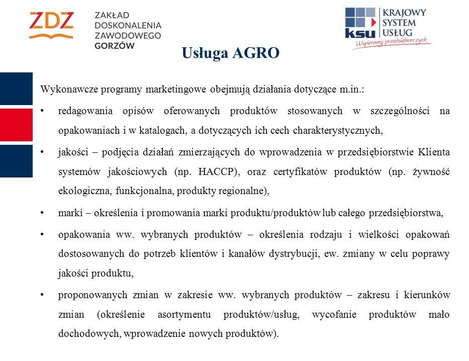 Wykonawcze programy marketingowe obejmują działania dotyczące m.in.: redagowania opisów oferowanych produktów stosowanych w szczególności na opakowaniach i w katalogach, a dotyczących ich cech charakterystycznych, jakości – podjęcia działań zmierzających do wprowadzenia w przedsiębiorstwie Klienta systemów jakościowych (np.