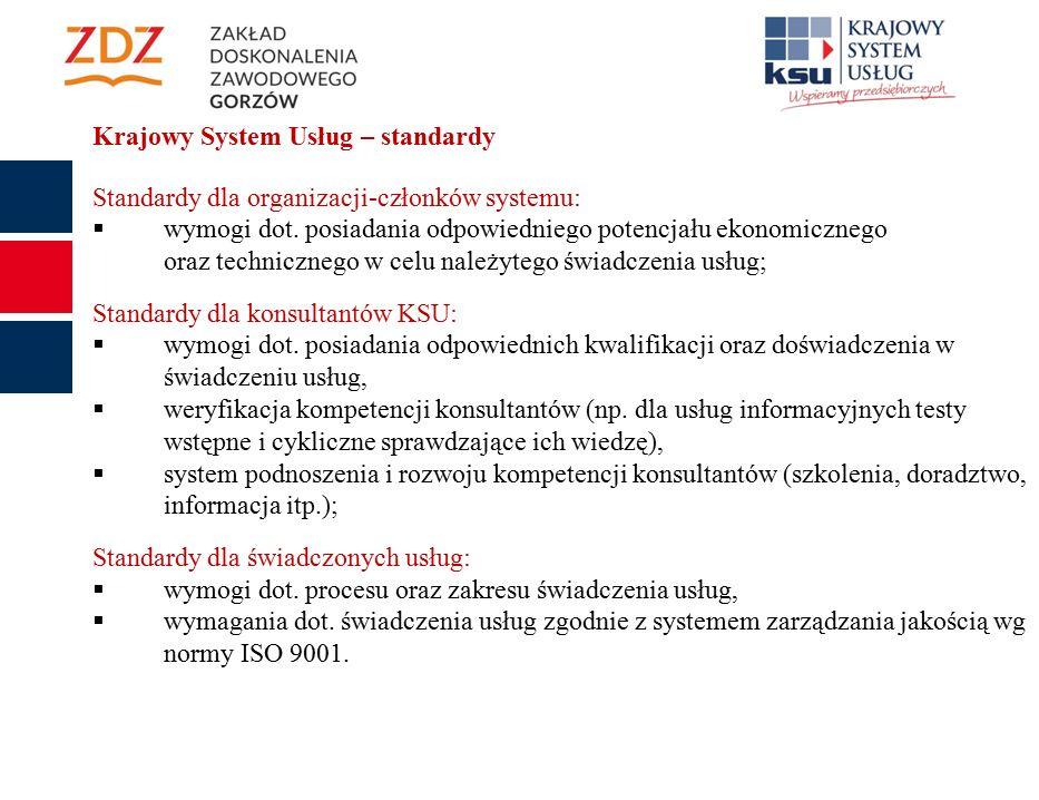Krajowy System Usług – standardy Standardy dla organizacji-członków systemu:  wymogi dot.
