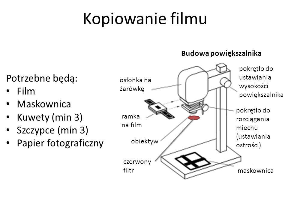 Kopiowanie filmu Potrzebne będą: Film Maskownica Kuwety (min 3) Szczypce (min 3) Papier fotograficzny Budowa powiększalnika pokrętło do ustawiania wysokości powiększalnika maskownica pokrętło do rozciągania miechu (ustawiania ostrości) obiektyw ramka na film osłonka na żarówkę czerwony filtr