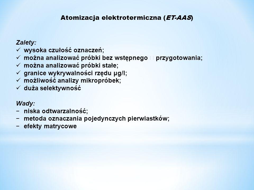 Atomizacja elektrotermiczna (ET-AAS) Zalety: wysoka czułość oznaczeń; można analizować próbki bez wstępnego  przygotowania; można analizować próbki s