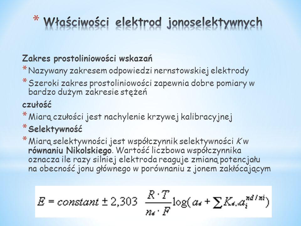 Zakres prostoliniowości wskazań * Nazywany zakresem odpowiedzi nernstowskiej elektrody * Szeroki zakres prostoliniowości zapewnia dobre pomiary w bard