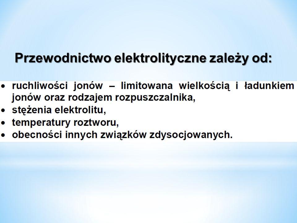 Przewodnictwo elektrolityczne zależy od:
