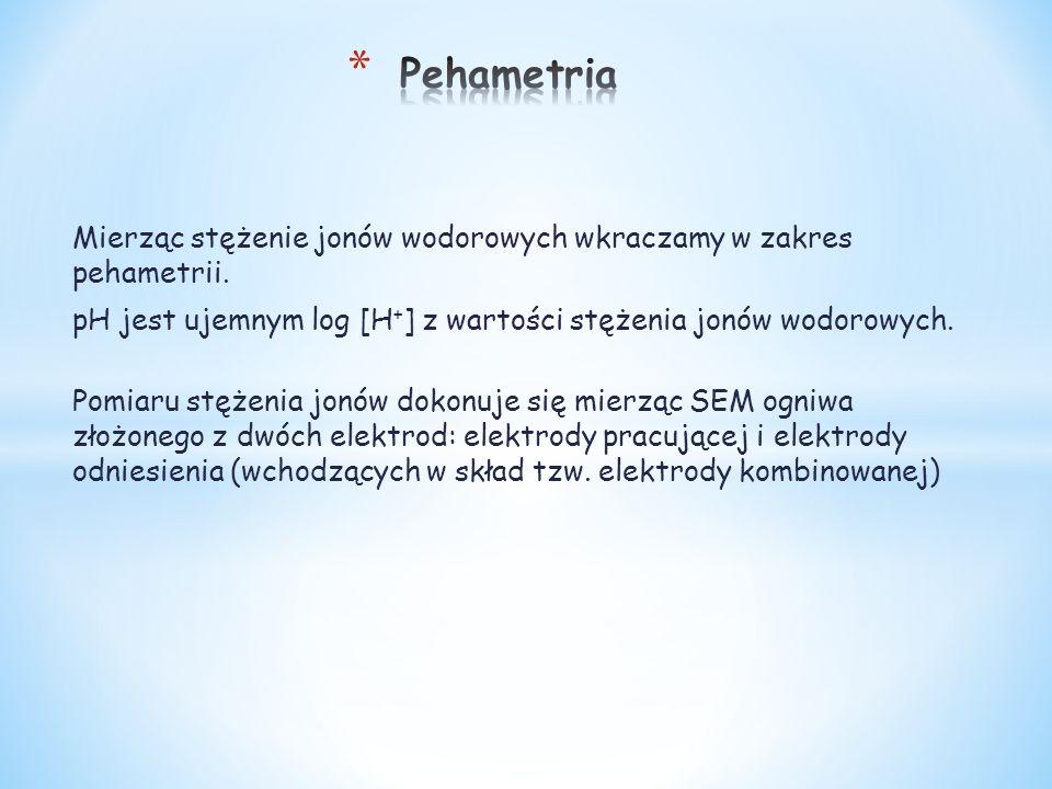 Mierząc stężenie jonów wodorowych wkraczamy w zakres pehametrii. pH jest ujemnym log [H + ] z wartości stężenia jonów wodorowych. Pomiaru stężenia jon