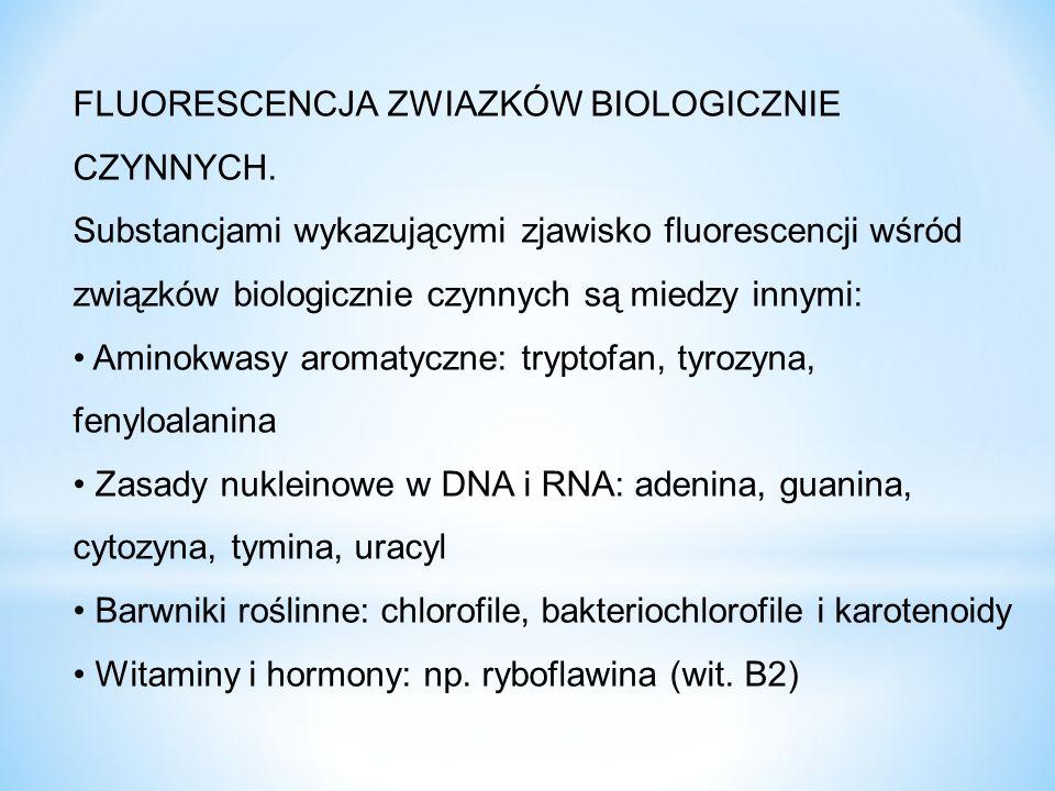 FLUORESCENCJA ZWIAZKÓW BIOLOGICZNIE CZYNNYCH. Substancjami wykazującymi zjawisko fluorescencji wśród związków biologicznie czynnych są miedzy innymi: