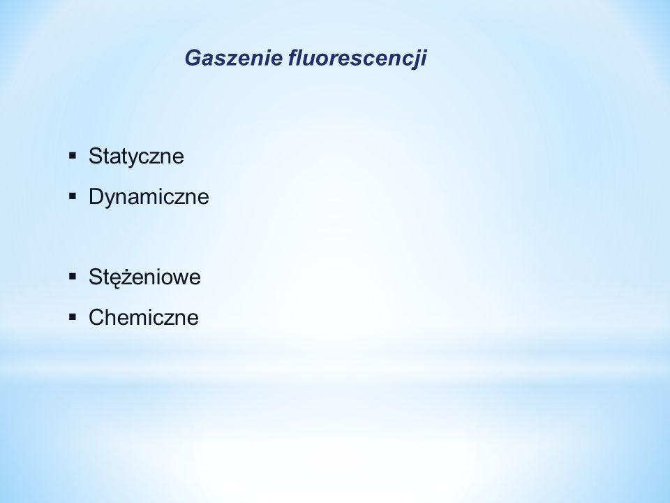  Statyczne  Dynamiczne  Stężeniowe  Chemiczne Gaszenie fluorescencji